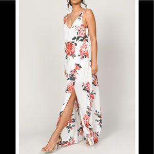 In Mind Ivory Multi Rose Print Maxi Dress